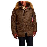 Зимняя куртка аляска Alpha Industries Slim Fit N-3B Parka MJN31210C1 (Brown/Red), фото 1