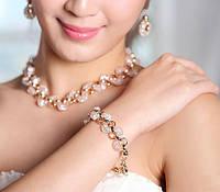 Браслет ювелирная бижутерия золото 18К кристаллы Swarovski, фото 1