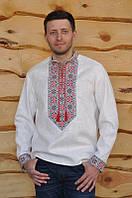 Мужская вышиванка красного цвета с геометрическим орнаментом в этно стиле М25-212, фото 1