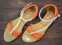 Яркие оранжевые женские босоножки SOPRA, фото 1