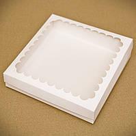 Коробка для пряников 21х21х3см. (с окошком белая), фото 1