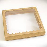 Коробка для пряников 21х21х3см. (с окошком крафт), фото 1