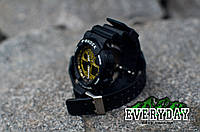Спортивные наручные часы Casio G-Shock GA 100 Черные с золотым, фото 1