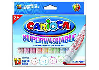 SUPER BABY Суперсмываемые толстые фломастеры 12шт. CARIOCA 42249
