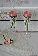 Свадебные бокалы Розовый кварц