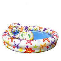 Детский бассейн Intex 59460 Fancy Stars Pool Set: 122х25 см, винил, круг и мяч, 1 кг, 2+ лет