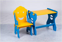Детский стол и стульчик для занятий Маус, желто- голубой
