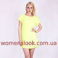 Платье-туника кислотно-желтого цвета