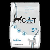 PLATINUM CAT OCEAN FISH полноценный корм премиум класса для кошек океаническая рыба, 3 кг.