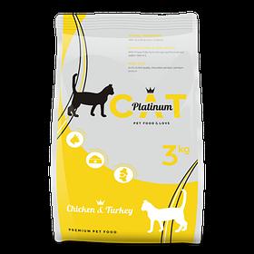 PLATINUM CAT CHICKEN & TURKEY полноценный корм премиум класса для кошек курица и индейка, 3 кг