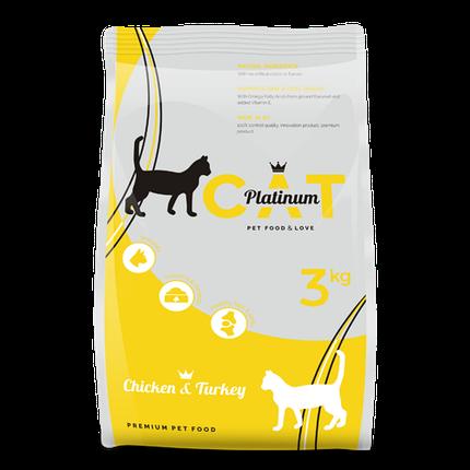 PLATINUM CAT CHICKEN & TURKEY полноценный корм премиум класса для кошек курица и индейка, 3 кг, фото 2