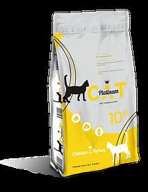 PLATINUM CAT CHICKEN & TURKEY полноценный корм премиум класса для кошек курица и индейка, 10 кг