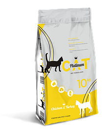 PLATINUM CAT CHICKEN&TURKEY полноценный корм премиум класса для кошек курица и индейка, 10 кг