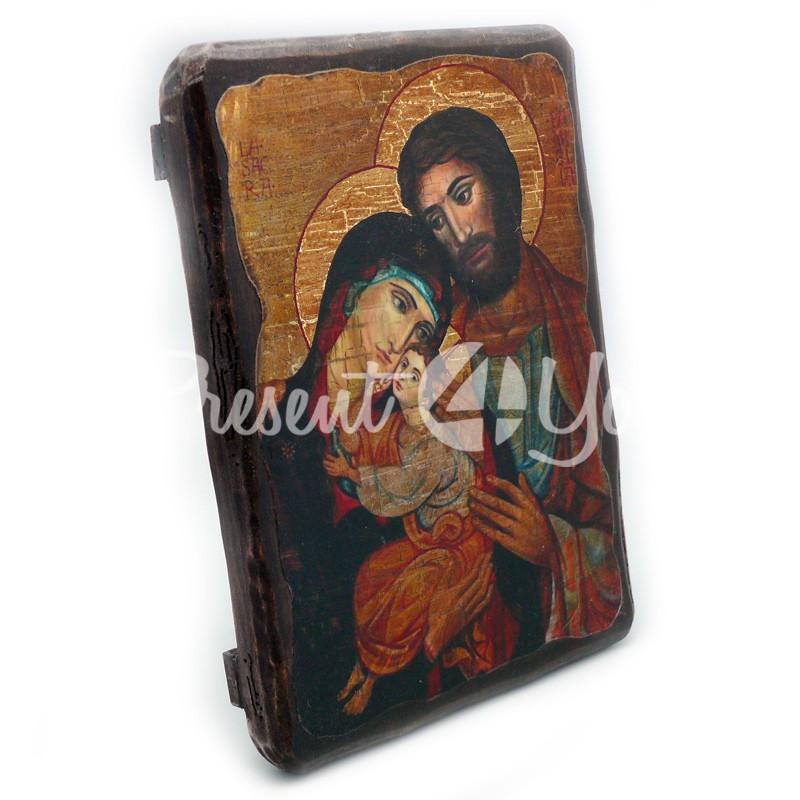 Деревянная икона Святое Семейство, 17х23 см.