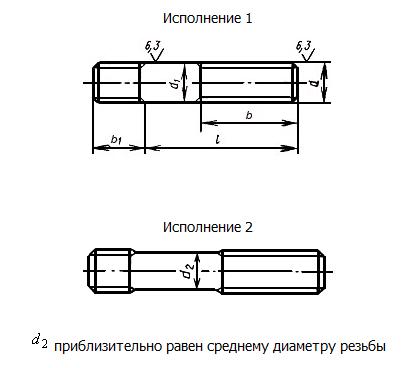 Чертеж шпильки ГОСТ 22034-76