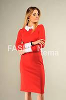 Платье женское с белым воротничком красное 46