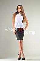Платье баска черно белое из дайвинга 46