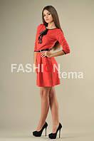 Платье женское Бляха из трикотажа красное 44