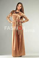 Женское длинное платье атлас в горошек  44-46