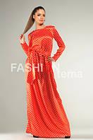 Женское платье с длинным рукавом атлас в горошек 44-46