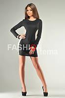 Платье женское из трикотажа черное с бежевыми боками м