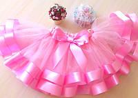 Юбка пачка с широкими атласными лентами нежно - розовая