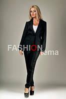 Женский костюм с брюками черный 44
