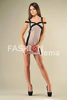 Женское платье из дайвинга бежевое 44