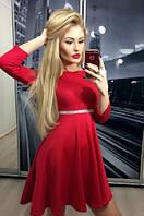 """Платье """"Клеш-камни"""", красное"""