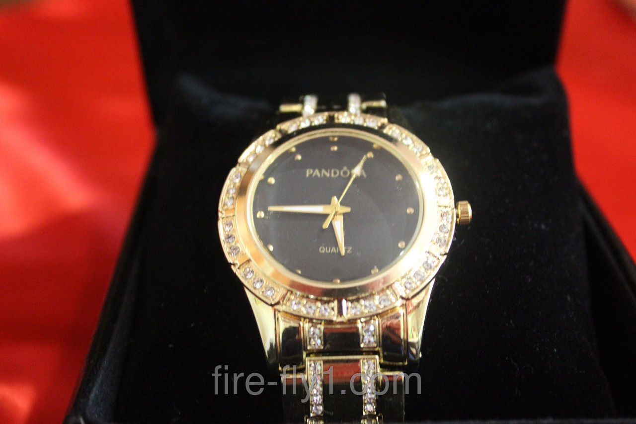 Женские наручные часы PANDORA ( Пандора ) золотой браслет корпус черный  циферблат по браслету стразы - 7fc38580239