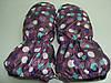 Варежки на меху - фиолетовые в горошек