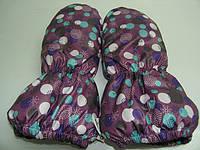 Варежки на меху - фиолетовые в горошек, фото 1
