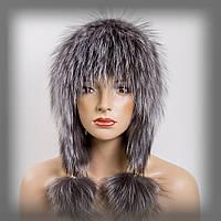 Женская меховая шапка из чернобурки (с ушками)