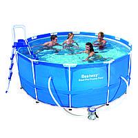 Каркасный бассейн на дачу Bestway 56420 с фильтр-насосом, 122х366см, 10250л, лестница, тент, подстилка