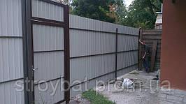 Забор из профнастила 2,30 м и калитка