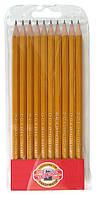 Koh-i-Noor Набор 10 шт графитных карандашей разной твердости 2H-3B . Арт. 1570/10
