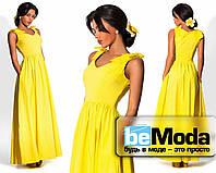 Очаровательное платье в пол с бантами на плечах желтое