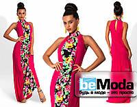 Элегантное платье в пол с цветной вставкой впереди малиновое