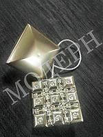 Магнит-подхват для штор Квадрат со стразами цвет сатин-никель