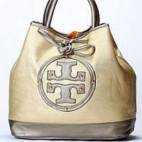 Женская сумка Tory Burch  золотистая с серым, фото 1