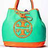 Женская сумка Tory Burch  бирюза с оранжевым