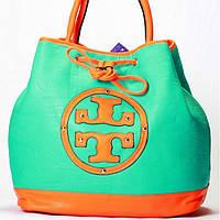 Женская сумка Tory Burch  бирюза с оранжевым, фото 1