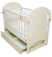 Кроватка для новорожденных Соня ЛД 8 (декор резьба Мишка со стразами) Верес слоновая кость
