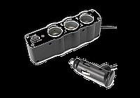 Разветвитель для автомобильного прикуривателя тройной и USB WF-0120