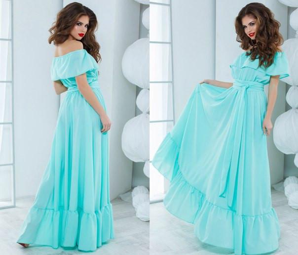 160f1963440 Бирюзовое шикарное летнее платье в пол. Арт-5122 48  продажа