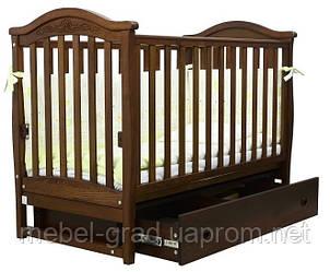Ліжечко для новонароджених Соня ЛД 3 з маятником і ящиком Верес горіх