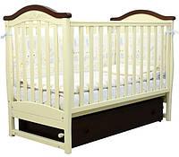Кроватка для новорожденных Соня ЛД 3 с маятником и ящиком Верес слоновая кость / орех