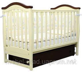 Ліжечко для новонароджених Соня ЛД 3 з маятником і ящиком Верес слонова кістка / горіх