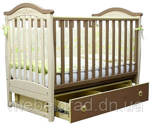 Ліжечко для новонароджених Соня ЛД 3 з маятником і ящиком Верес капучіно