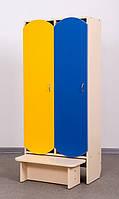 Шкаф 2-дверный для раздевалки с лавкой